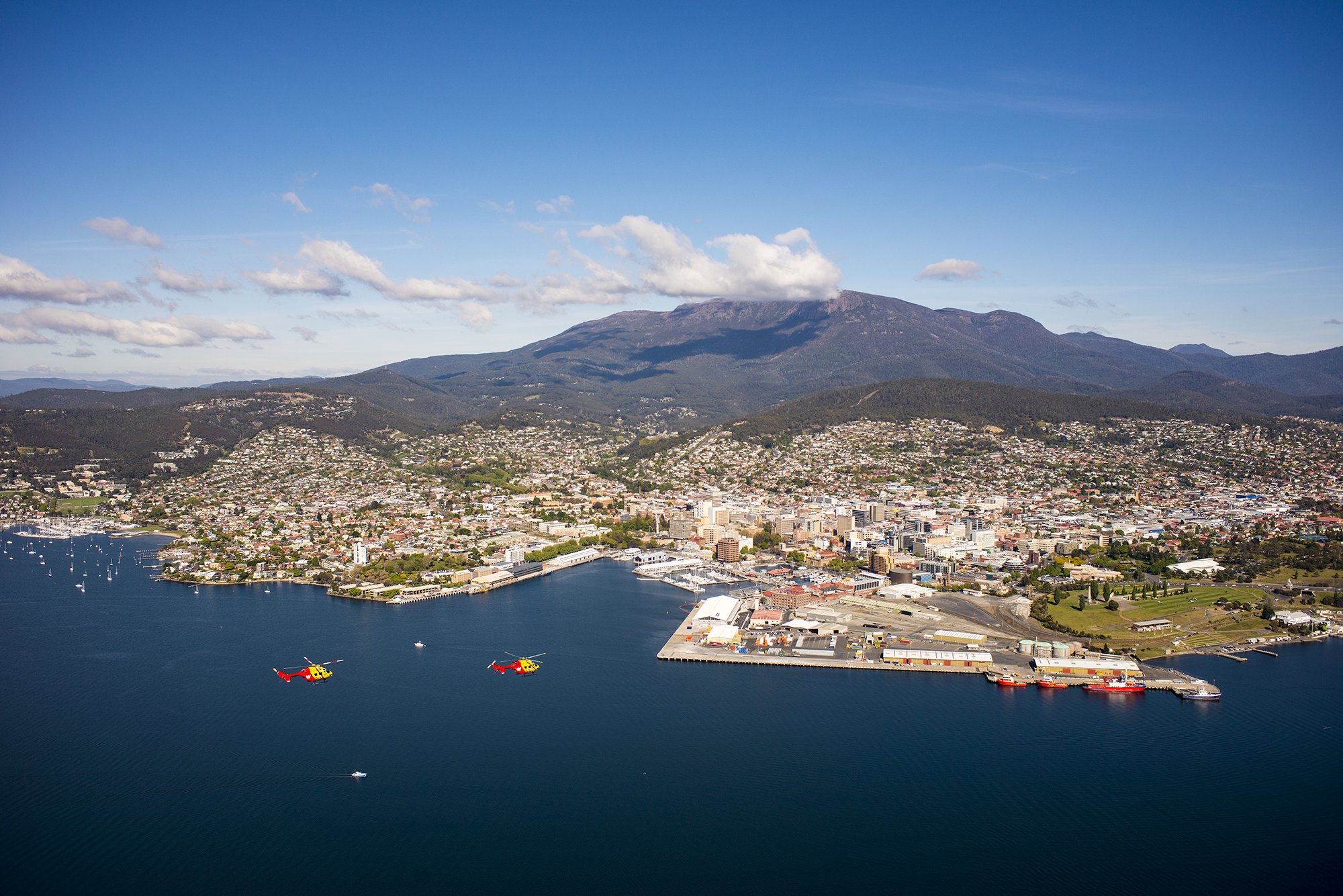 Westpac Rescue Helicopters flying over Hobart