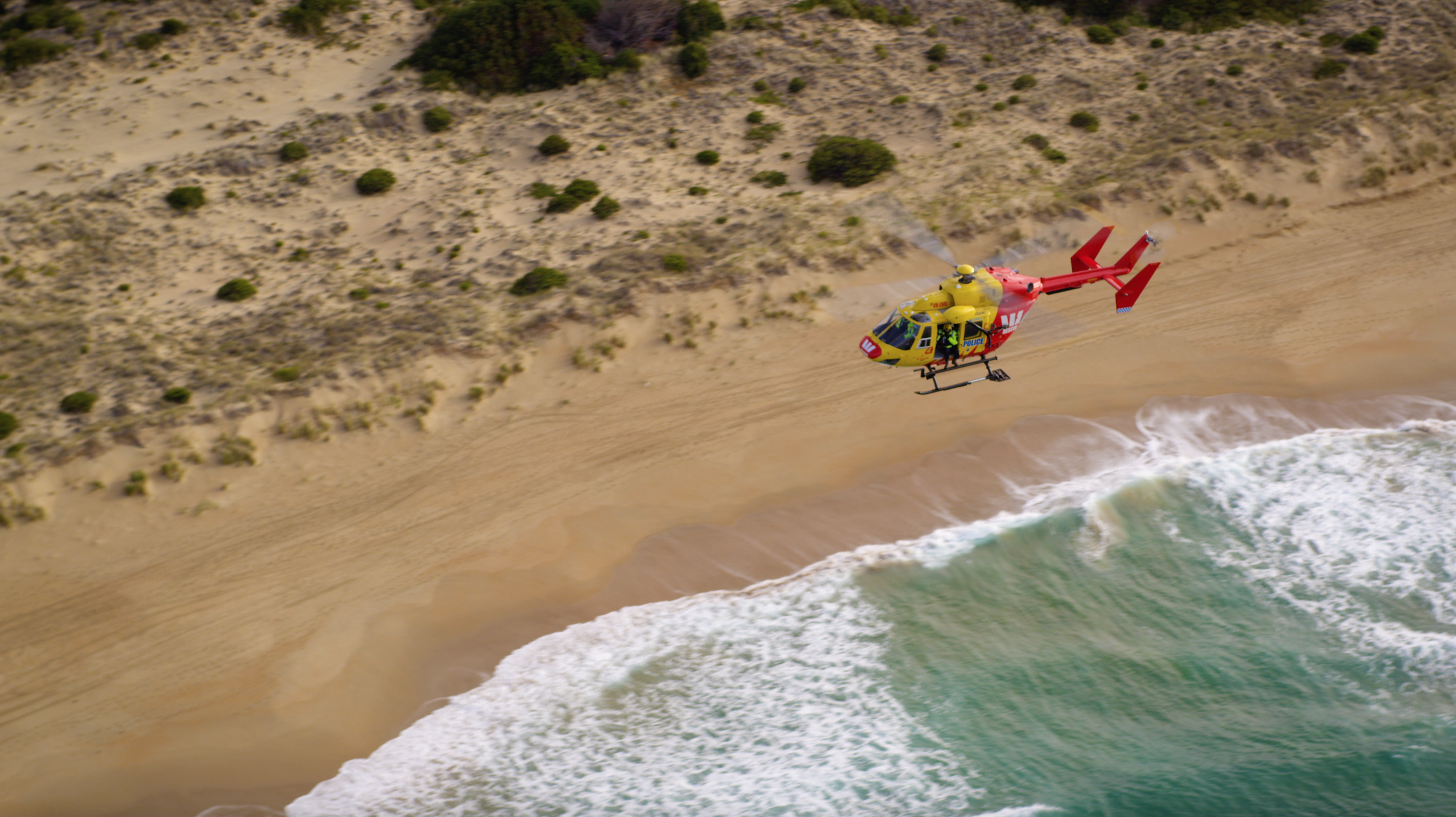 Helicopter over Roaring Beach