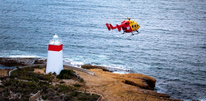 Westpac Rescue Helicopter Tasmania over the Iron Pot