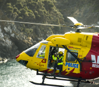Westpac Rescue Helicopter flying over the Tasmanian coastline