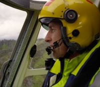 Dave Erwin piloting the Westpac Rescue Helicopter