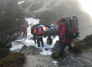 Rescue team working in the snow
