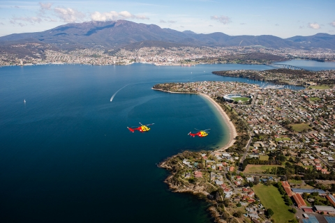 Westpac Rescue Helicopters flying over Tasmania