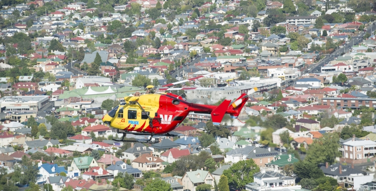 Westpac Rescue Helicopter flying over Sandy Bay