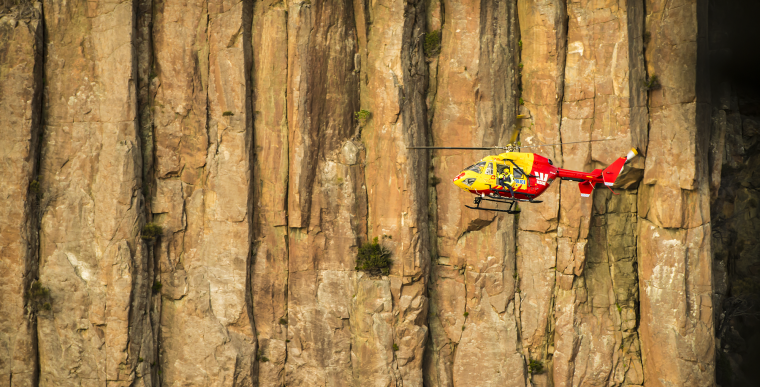 Westpac Rescue Helicopter inflight on the Tasman Peninsula