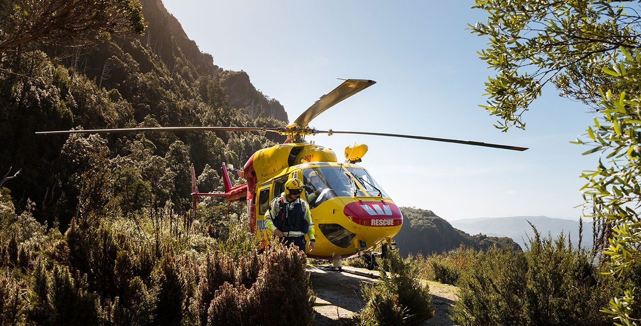 Westpac Rescue Helicopter Landed at Frenchmans Cap