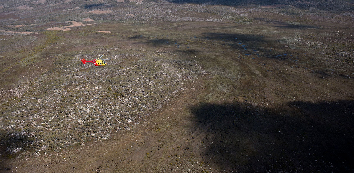 Westpac Rescue Helicopter Tasmania Flying over plains