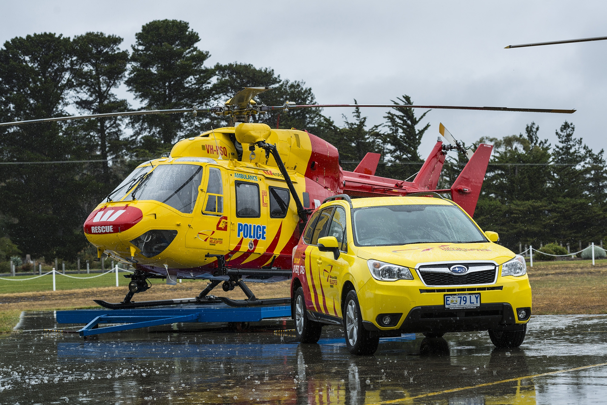 Westpac Rescue Helicopter Tasmania and Subaru Forester