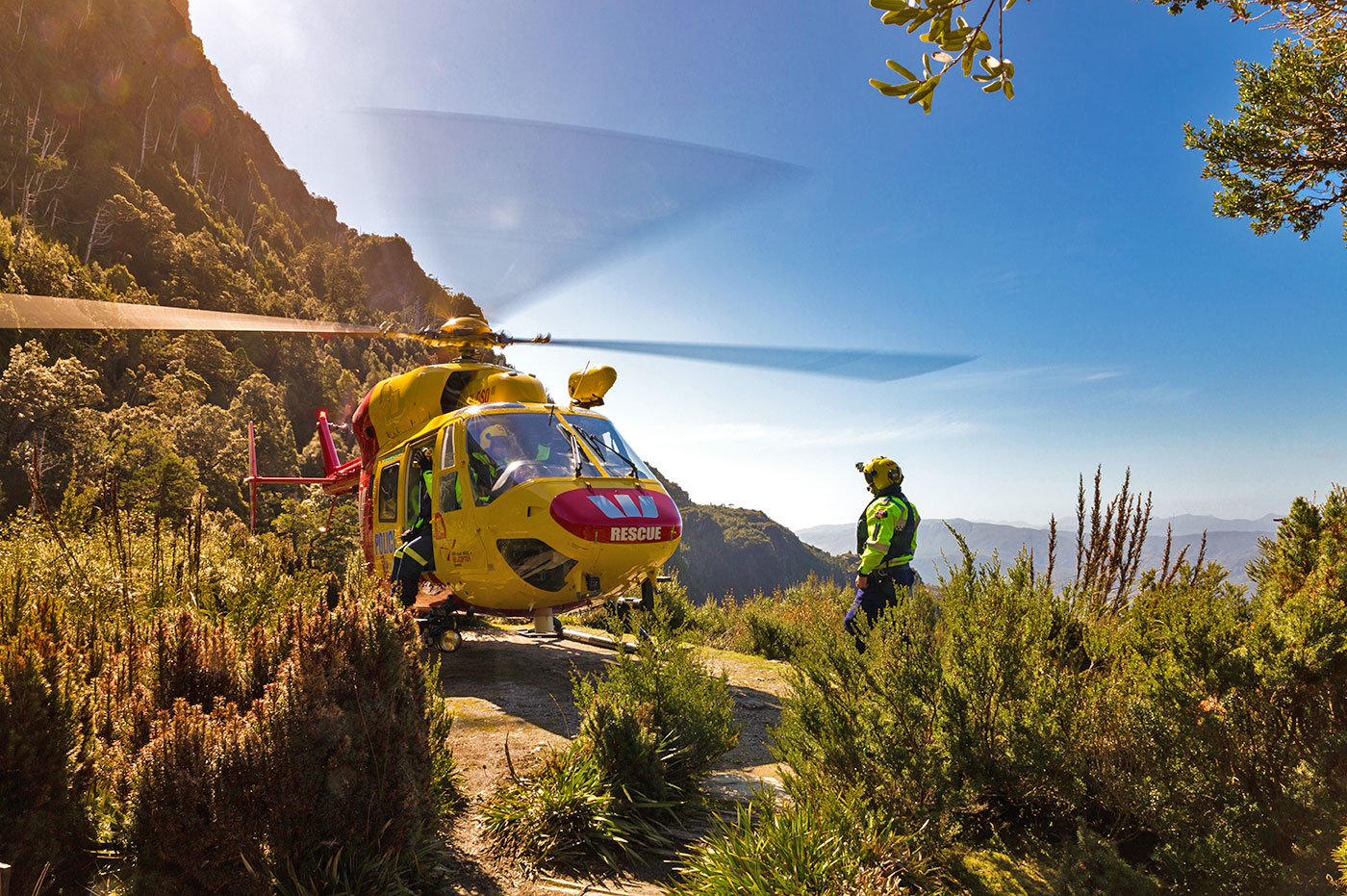 Westpac Rescue Helicopter Tasmania at Frenchmans Cap